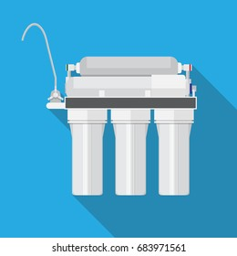 Reverse osmosis system. water filter vector flat design.