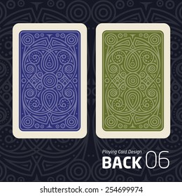The reverse side of a playing card for blackjack other game with a pattern.