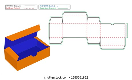 Reverse Tuck End Box, RTE boxes dieline template and 3D render box