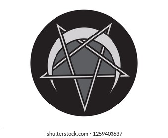 Reversed or Inverted Pentagram with upside down crescent moon vector symbol isolated. Satanic Inverted Endless Pentagram icon.