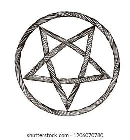 Reversed pentagram. Satanic sign. Gothic style. Outline vector illustration isolated on white background.
