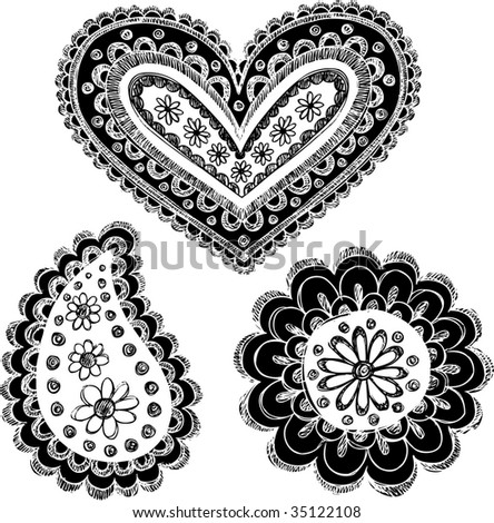 Reversed Sketchy Doodle Henna Vector Illustration Stock Vector