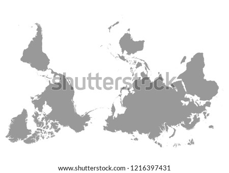Reversed Upside Down Political Map World Stock Vector Royalty Free