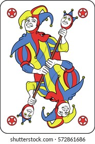 Reversible Joker displayed inside his playing card. He holds a strange scepter with both his hands. Red, yellow, blue and white are the main colours of this illustration.