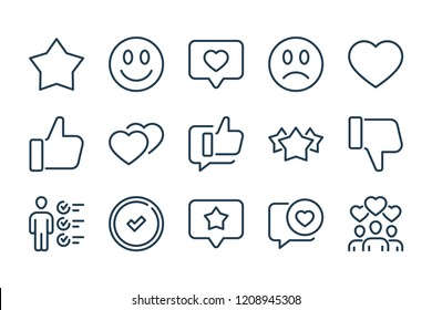 Review and feedback related line icon set. Rating vector linear icons.