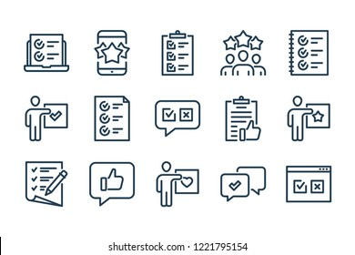 Review and feedback related line icon set.