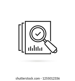 review icon like thin line loupe on paper. concept of market data statistics research or business forecast. flat stroke seek logotype graphic lineart black design art isolated on white background