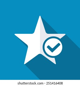 Review icon. Star favorite sign web icon with tick sign. Favorite sign. Vector illustration design element. Modern design flat style icon with long shadow effect