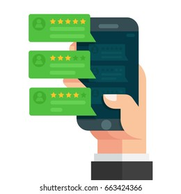 Review rating bubble speeches on mobile phone, smartphone reviews stars with good and bad rate and text, concept of testimonials messages, notifications, feedback, Vector illustration. Flat design.