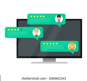 Review rating bubble speeches. Vector modern style cartoon character illustration avatar icon design.  Computer desktop pc display with reviews stars rate and text, feedback evaluation, messages