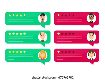 Review rating bubble speeches. Vector modern style cartoon character illustration avatar icon design. concept of decision,grading system, reviews stars rate app and text, feedback evaluation, messages