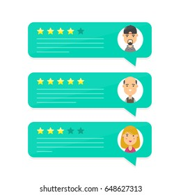 Review rating bubble speeches.Vector modern cartoon character illustration avatar icon design.concept of decision,grading client system,reviews rate and text,feedback evaluation,messages evaluate