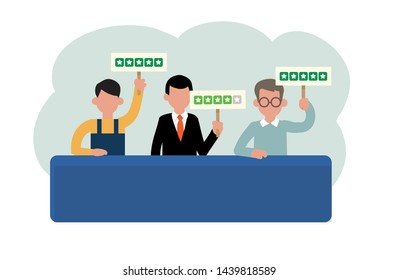 Review rating cartoon infographics elements. People giving customer feedback (four and five stars) by showing rating boards sitting at the table. Worker, businessmen. Simple flat vector illustration.