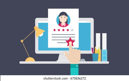 Review of a resume, evaluation of a person's profile. Vector illustration business concept design.