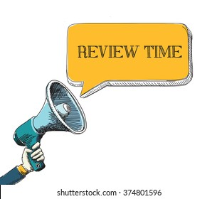REVIEW TIME word in speech bubble with sketch drawing style