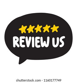 Review us. Vector illustration on white background.