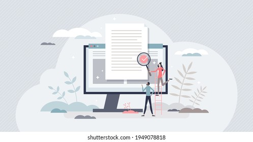 Reviewing paperwork and checking for mistakes or errors tiny person concept. Agreement audit, legal analysis and project contract inspection vector illustration. Quality feedback after draft document.