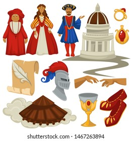 Revival of learning Renaissance epoch style vintage fashion architecture and relics jewelry vector man and woman in traditional, clothes knight helmet and goblet footwear and paper scroll gold ring