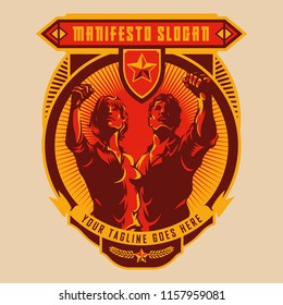 Revolution badge of Men and Women raised fist. Propaganda style. Protest fist. Retro revolution poster design.