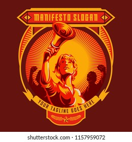 Revolution badge of Women holding megaphone. Propaganda style. Protest fist. Retro revolution poster design.