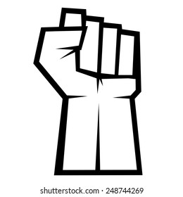 Revolution concept. Fist up isolated on white background, vector illustration