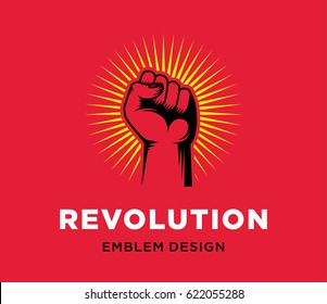 Revolution hand up emblem design on red background. Fist vector illustration