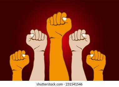 Revolution hands up background