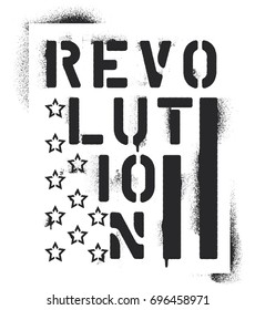 ''Revolution'' inscription and elements of the U.S. flag - stars and bars. Spray graffiti stencil.