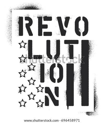 Revolution Inscription Elements Us Flag Stars Stock Vektorgrafik