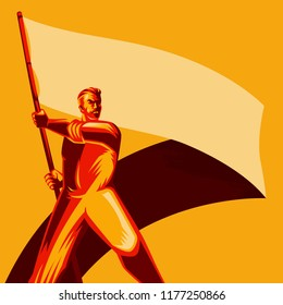 Revolution Poster. Man holding blank flag vector illustration. Political protest activism patriotism. Revolution raising The Flag