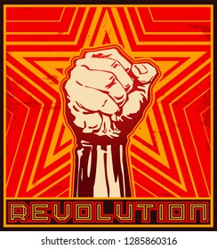 REVOLUTION. Poster vector illustration of protest raised fist and yellow stars on red background in the style of soviet propaganda posters.