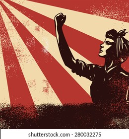 Revolution Poster, worker raising fists on sunbeam backgound, vector