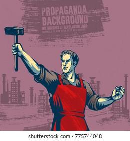 Revolution Propaganda Poster Style. Revolution Raising The Sledgehammer.