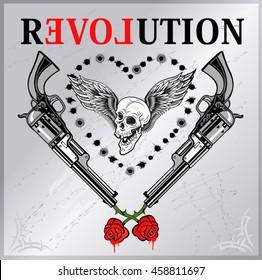 Revolution and Rose. Skull and Revolver