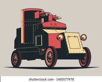 Revolution and World War I Armored Car 1910s Propaganda Posters Style