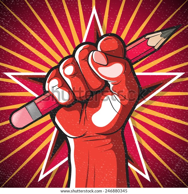 Revolutionary Punching Fist and Pencil Sign. Great illustration of Russian Propaganda style punching Fist holding a pencil symbolizing Freedom of speech.