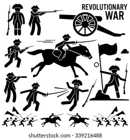 Revolutionary War Soldier Horse Gun Sword Fight Independence Day Patriotic Stick Figure Pictogram Icons