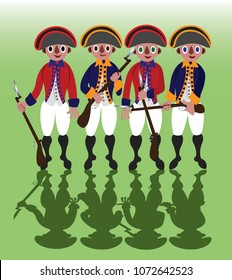 Revolutionary War Soldiers stand in a line