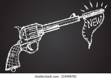 """Revolver and banner """"new"""" chalkpainted."""