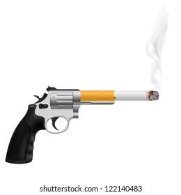 Revolver with a cigarette. Illustration on white