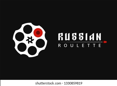 Revolver cylinder icon with one bullet. Russian roulette old game vector illustration. Handgun cartridge vector logo