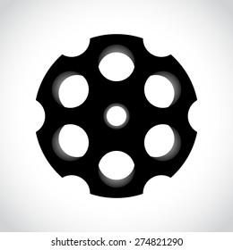 Revolver drum on white , vector illustration