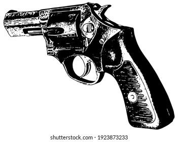 Revolver hand gun vector illustration on white background