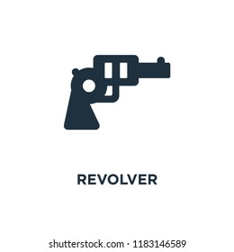 Revolver icon. Black filled vector illustration. Revolver symbol on white background. Can be used in web and mobile.