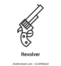 Revolver icon vector isolated on white background for your web and mobile app design, Revolver, outline symbol, linear sign