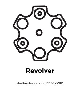 Revolver icon vector isolated on white background for your web and mobile app design, Revolver logo concept, outline symbol, linear sign