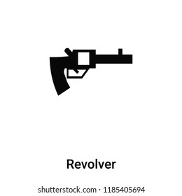 Revolver icon vector isolated on white background, logo concept of Revolver sign on transparent background, filled black symbol