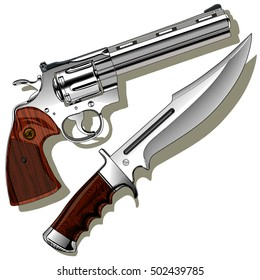 A revolver and a knife with a shadow on a blank background