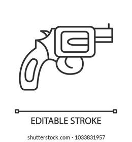 Revolver linear icon. Pistol, gun. Thin line illustration. Firearm. Contour symbol. Vector isolated outline drawing. Editable stroke