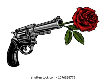 Revolver with rose isolated on white. Vector colourful illustration.
